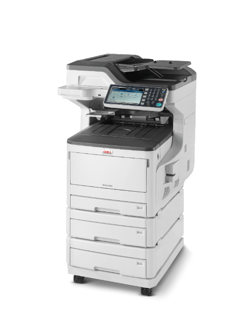 OKI ES8473dnv MFP 4 paper tray on caster