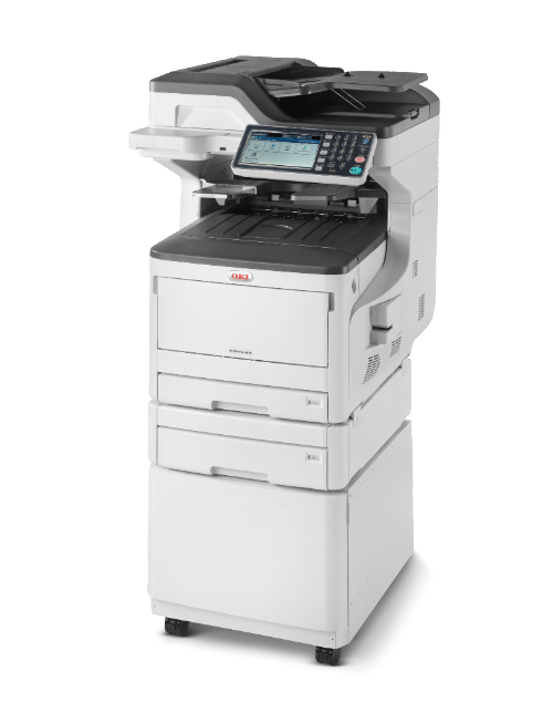 OKI ES8473dnct MFP with 2 paper tray + cabinet